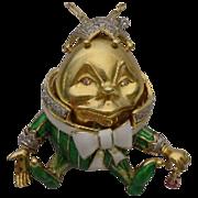 18Karat Humpty Dumpty Jeweled Enamel  Pendant