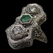 SALE Beautiful Antique 14 Karat  Diamond and Emerald Filigree Ring