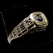 Beautiful 18Karat  Sapphire and Filigree Ring. Circa 1900