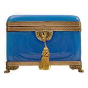 "SOLD Antique Blue Opaline Casket with Ornate Mounts ""FAB Paw Feet"""