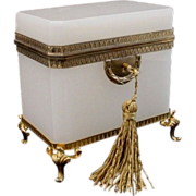 "SALE Glorious Antique French White Opaline Casket Hinged Box  ""Awesome Footed Base"""
