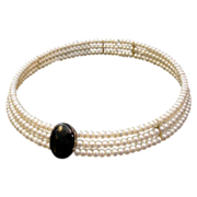 SALE Stunning Fresh Water Cultured Pearl and Onyx Choker