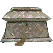 """Antique Mother of Pearl Tea Caddy """"RARE"""""""