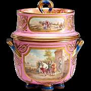 "Glorious Antique English Porcelain Ice Cream Jar ""Luscious Pink"""