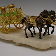 """SOLD 12"""" Palais Royal Green Opaline Chariot """"Two Prancing Horses"""""""