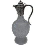 Antique Victorian Silver and Cut  Glass Wine Claret Jug