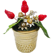 "Jeweled Enamel Strawberry Arrangement ""RARE GILT THIMBLE"""