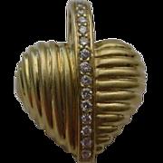 "14K Yellow Gold Diamond Pendant  ""HEART"""
