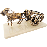REDUCED Antique French Opaline Goat Cart