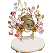 Fabulous Antique French Clock w Porcelain Flowers