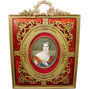 "French HP Portrait Miniature 10"" Red Enamel Jeweled Frame."