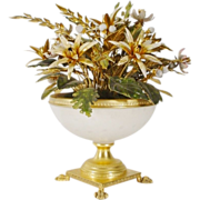 "REDUCED Jane Hutcheson Jeweled Enamel Flowers ""White Opaline Paw Foot Vase"""