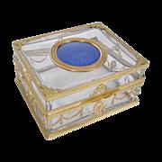 Magnificent Antique French Crystal Enamel Ormolu Casket Hinged Box