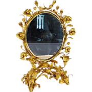Antique French Gilt Ormolu Vanity Table Top Mirror