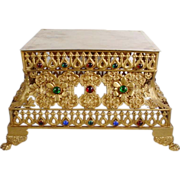 Magnificent Antique French Dore' Bronze Jeweled Plateau