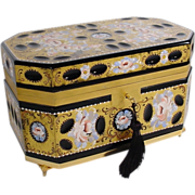 """VF French  Black Opaline  Hinged Box  """"HAND PAINTED """""""