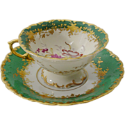 REDUCED Beautiful Samson Green Porcelain Cup and Saucer
