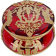 Antique French Empire Style Red Crystal Hinged Box