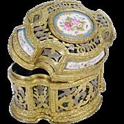 """Antique French Bronze Casket Hinged Box """"Five Porcelain Plaques"""""""