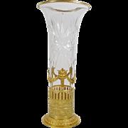 "15"" Grandest Antique French ""Empire Style"" Cut Crystal Gilt Ormolu Vase"