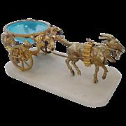 REDUCED Antique l Blue Opaline Goat Cart
