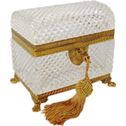"SOLD Glorious Antique French ""Dome Top"" Cut Crystal Casket Hinged Box' Paw Feet"""