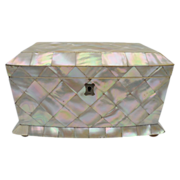 Antique English Mother of Pearl Double Tea Caddy