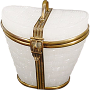 "Antique French White ""Basket Weave"" Opaline Hat Box."