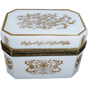 "Magnificent Antique White Opaline Hinged Box ""VF GILDING"""