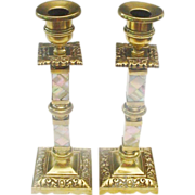 """10"""" Antique English Bronze and Mother of Pearl Candle Sticks"""