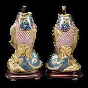 """Grandest  Antique 32"""" Chinese Cloisonné Fish Lamps"""