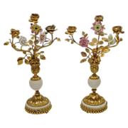 """Beautiful 14"""" Pair Antique French Bronze Marble Candelabra  """" Porcelain Flower s"""""""