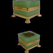 "SALE Antique French Green Opaline Casket ""Paw Feet"""
