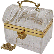 """Antique French Crystal Casket """"FAB Bronze Handle"""""""