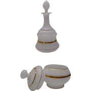 """REDUCED Antique French Opaline Vanity Set """"Two FAB Pieces"""""""