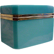 SOLD Magnificent  Antique  French Blue Opaline Casket Hinged Box