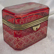 SOLD Antique Bohemian Ruby Cut to Clear Casket Hinged Box