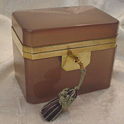 SOLD Antique French Pink Mauve Opaline Casket Hinged Box