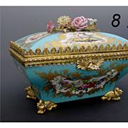 "SOLD Magnificent Antique Sevres Casket ""Porcelain Flowers"" Awesome Dore' Bronze"