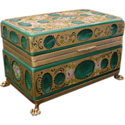 REDUCED Glorious Antique French  Green Opaline Glass Casket Hinged Box