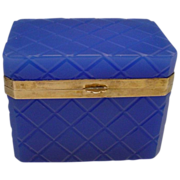 "Antique French Cobalt Opaline Casket "" Great Cut"""