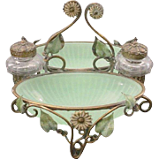 REDUCED Antique French Baccarat Double Green Opaline Inkwell