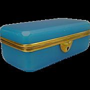 Antique French Blue Opaline Child's Glove Box