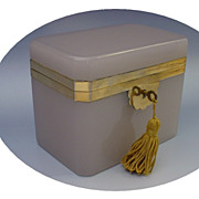 SOLD Antique French Lavender Opaline Casket Hinged Box