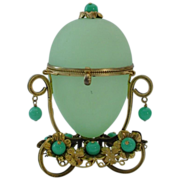 SOLD EBAY Palais Royal Jeweled Green Opaline Hinged Casket Box.