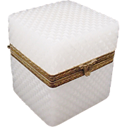 Antique French Diamond Cut White Opaline Hinged Box Casket.