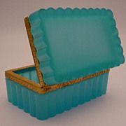 "SOLD Antique French Teal Opaline Hinged Box ""RARE SHAPE"""