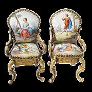 Pair Antique Vienna Enamel Miniature Chairs…