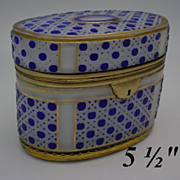 SOLD RL.     Antique Bohemian Cobalt Cut to White  Oval Casket Hinged Box