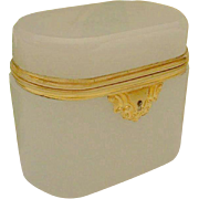 SOLD Antique Bohemian White Opaline Hinged Box